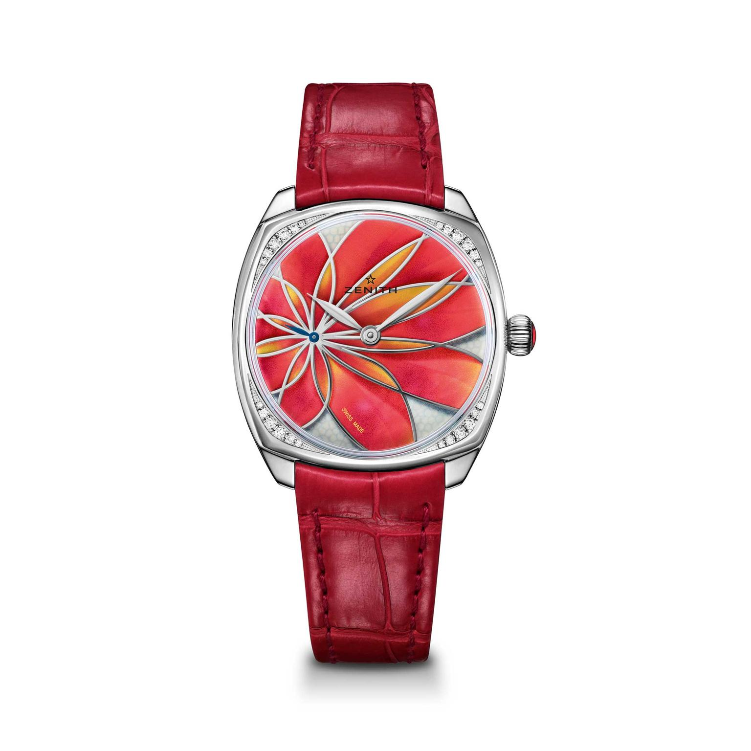 Zenith Star 33mm orange flower ladies watch