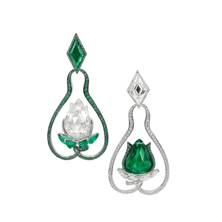 Boghossian emerald and diamond lotus flower earrings
