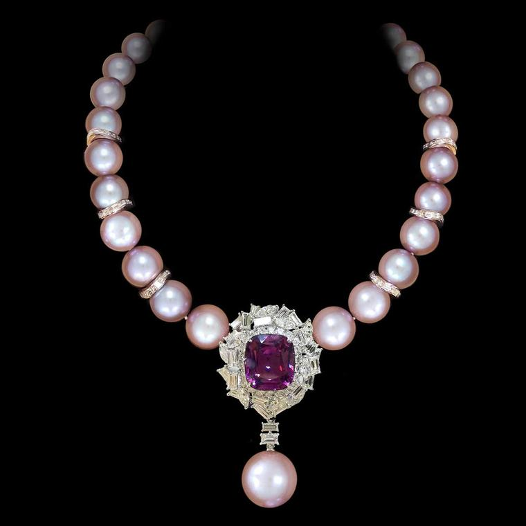 Margot McKinney natural pink pearl, Burmese spinel and diamond necklace