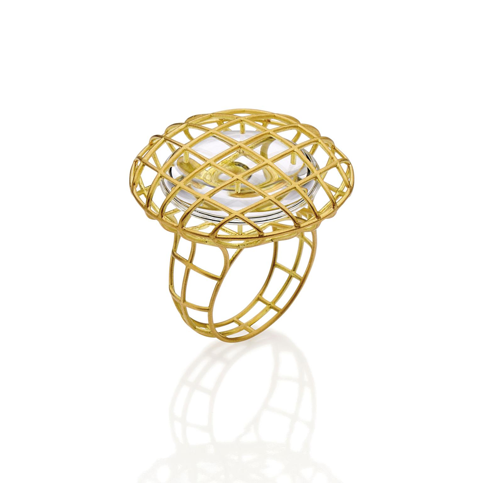 Antonio Bernardo gold and quartz ring