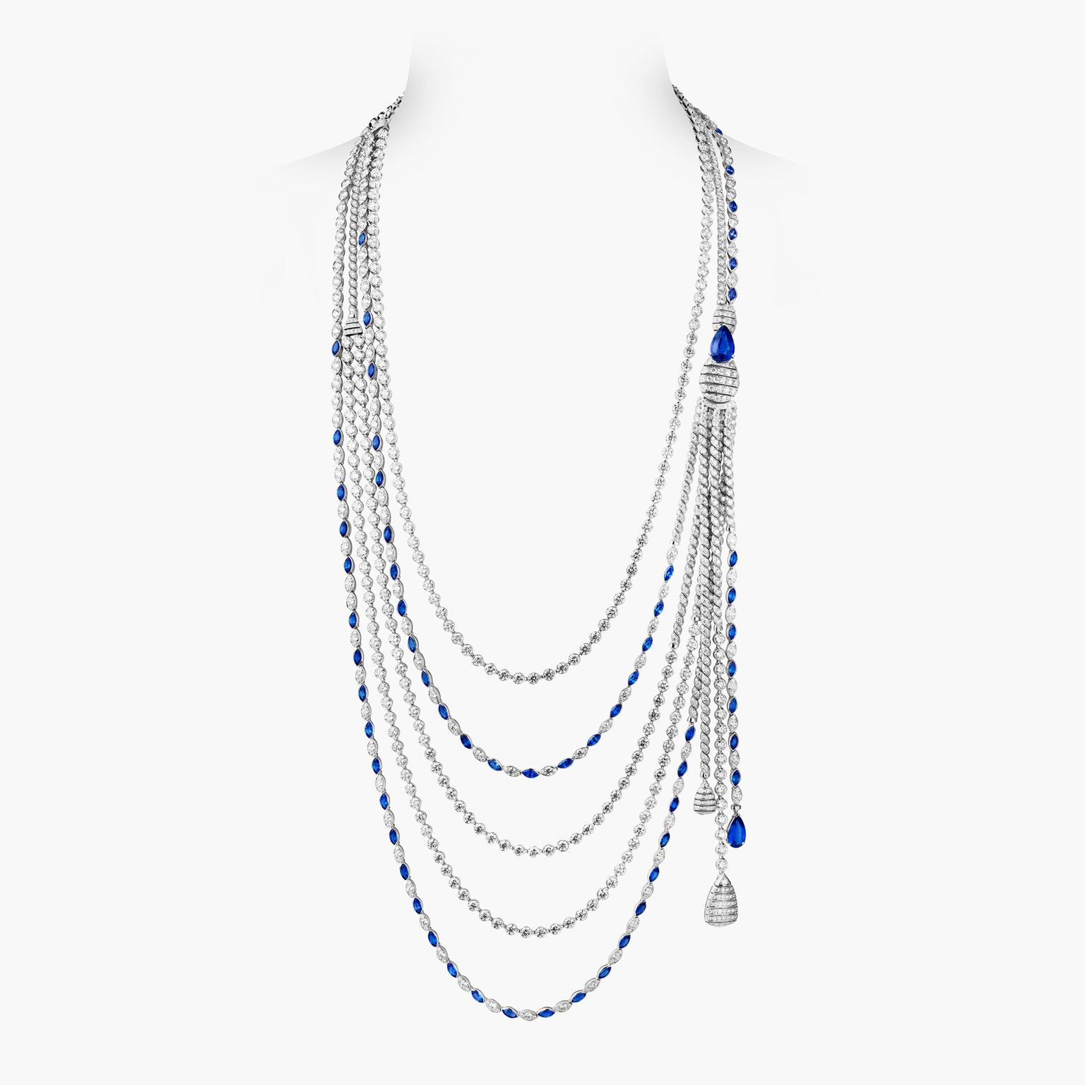 Chanel Flying Cloud Sapphire Stripes necklace