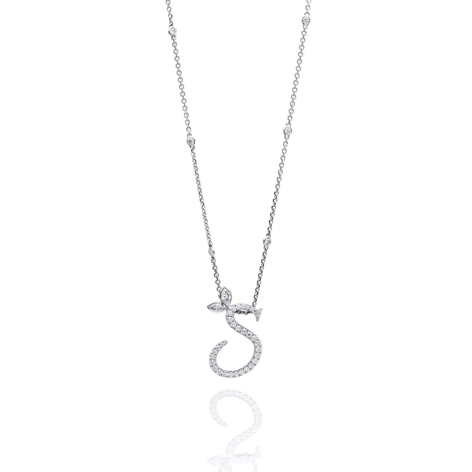 Love letter diamond pendant in white gold boodles the jewellery boodles diamond letter pendant necklace aloadofball Images