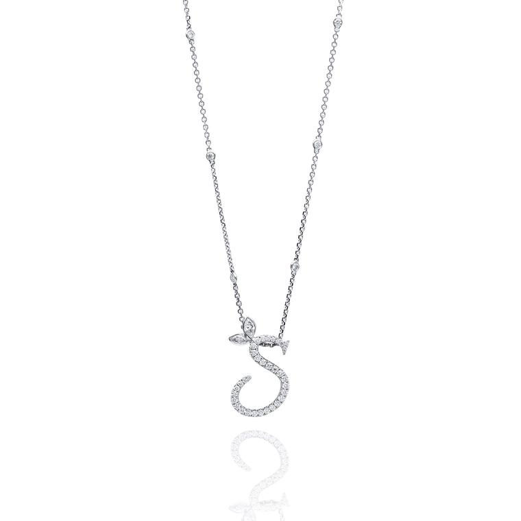 Boodles diamond letter pendant necklace