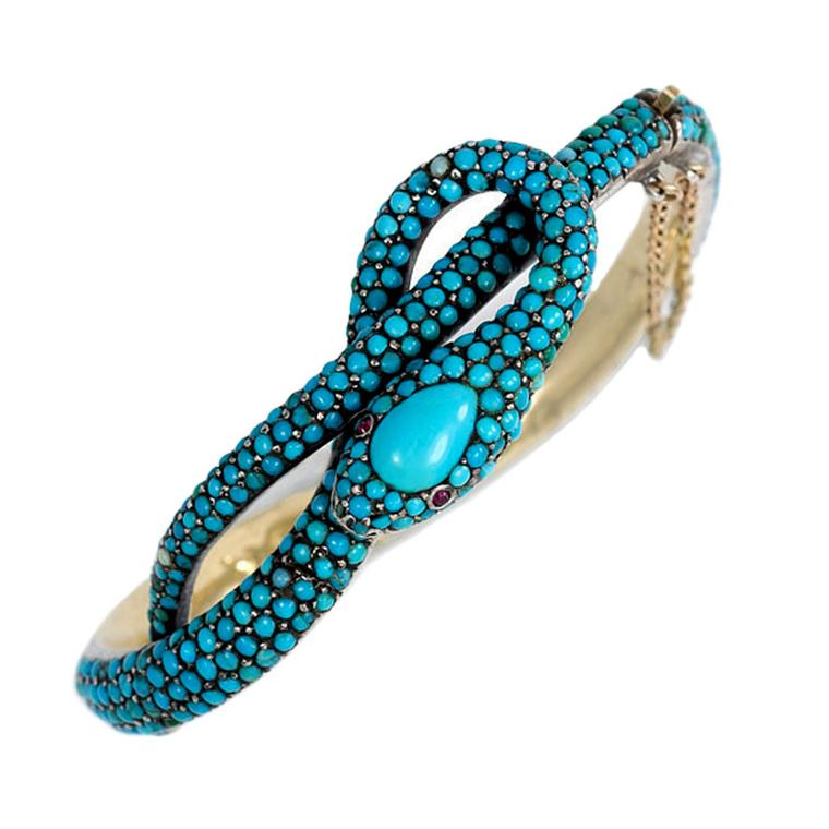 Kentshire gold and turquoise snake bracelet