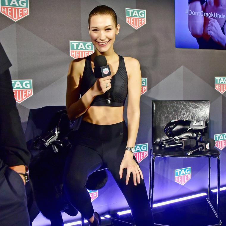 Bella Hadid at LFW announcing tie-up with TAG Heuer