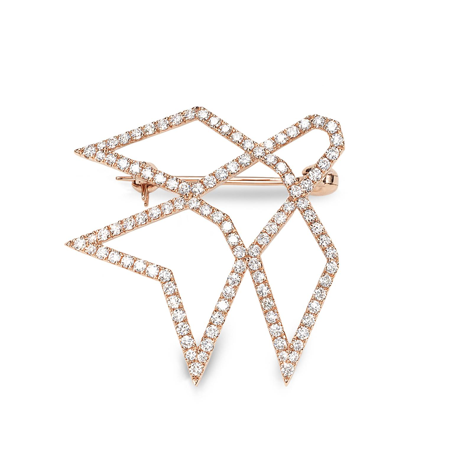 Octium Sun collection rose gold brooch with diamonds