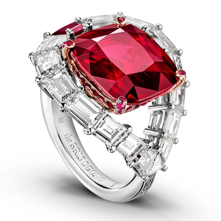 Ruby and diamond engagement ring from de GRISOGONO
