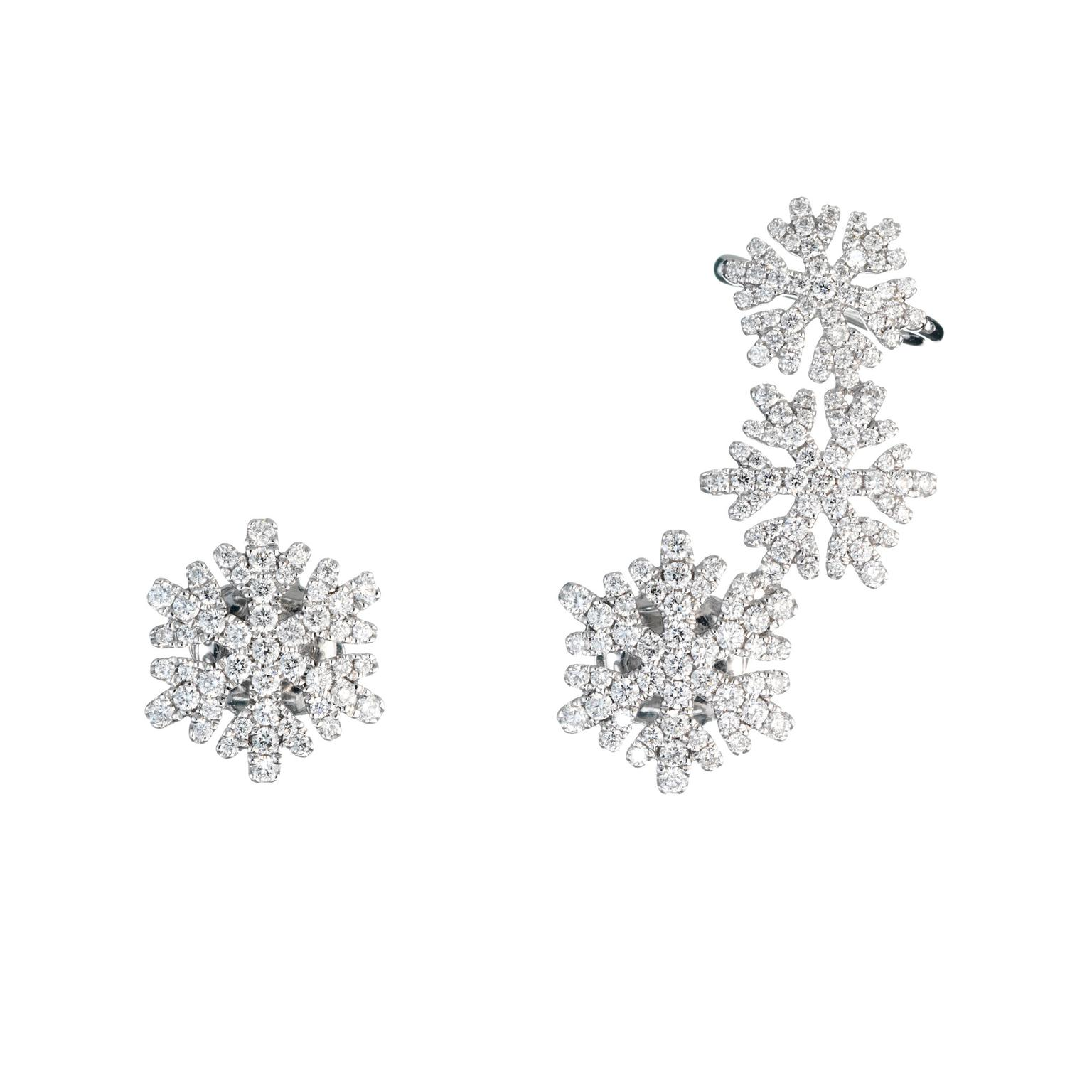 NOA Fine Jewellery diamond snowflake earrings