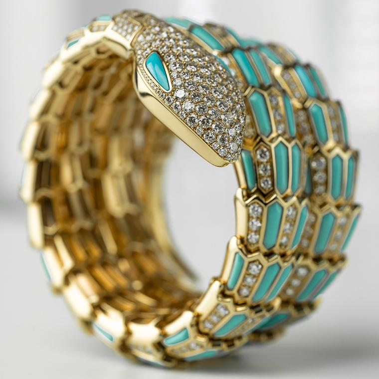 Bulgari Serpenti turquoise and diamond watch