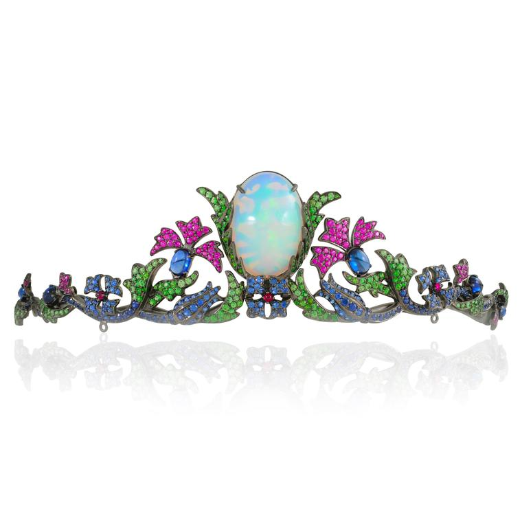 Topkapi opal tiara with coloured gemstones