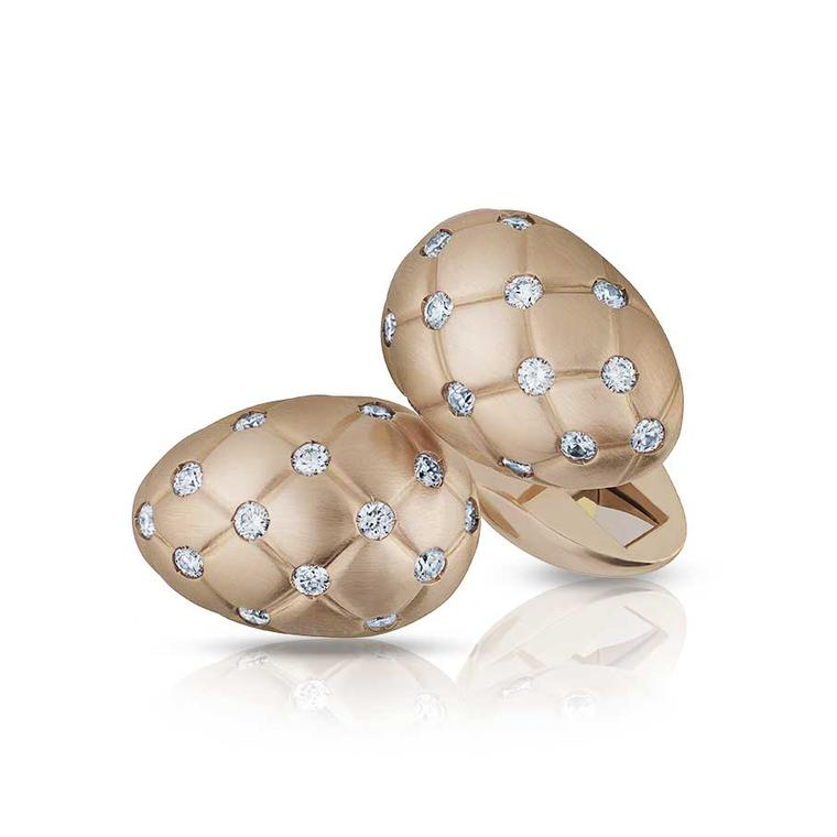Faberge Treillage diamond rose gold cufflinks