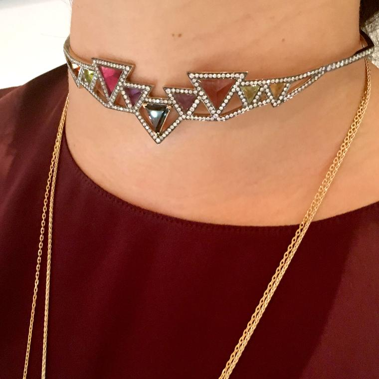 Sri Yantra choker with triangular cut coloured gemstones