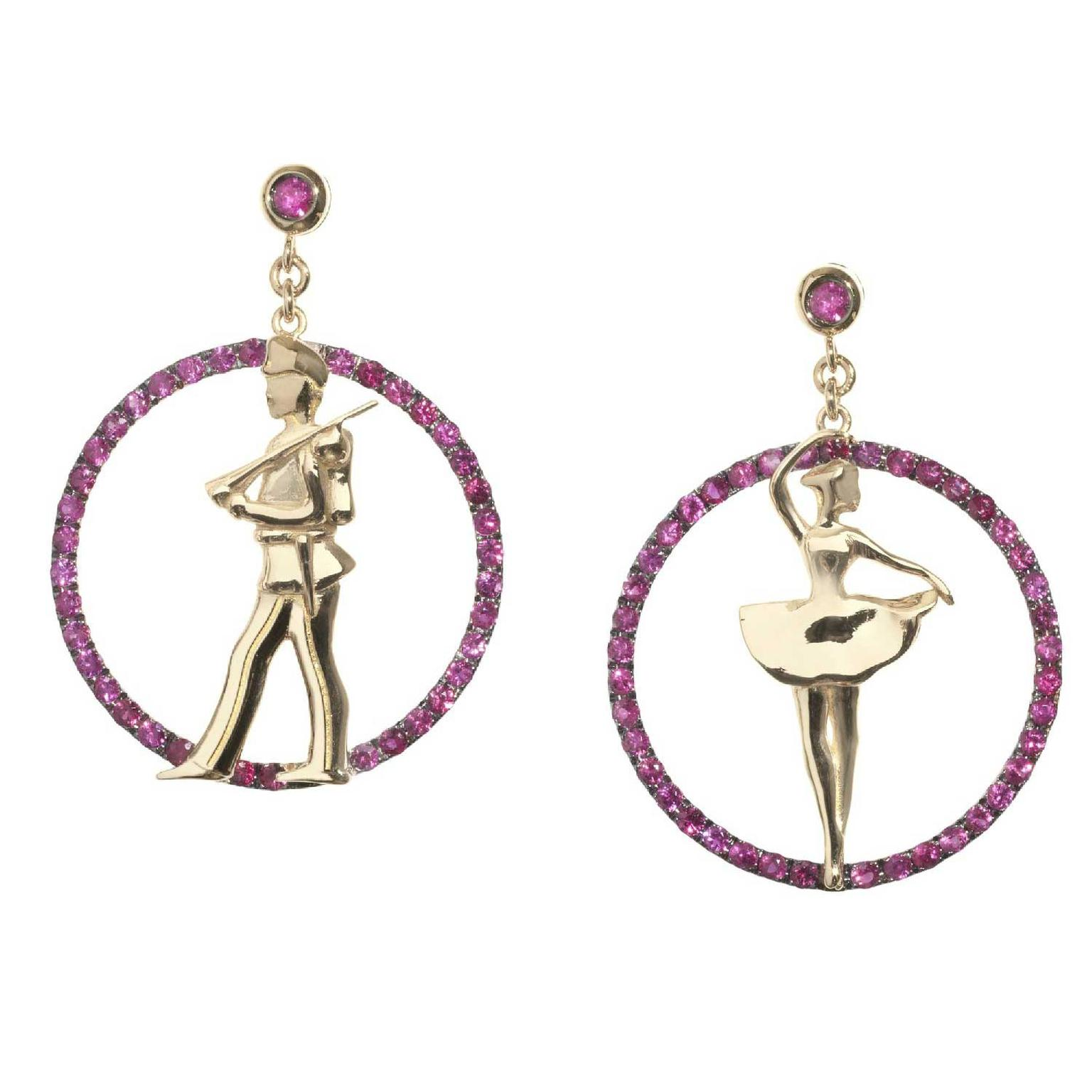 Francesca Villa Joie de Vivre ruby and pink gold earrings