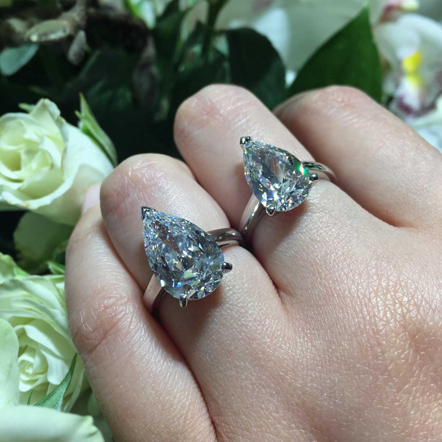 De Beers pear-cut diamond engagement rings
