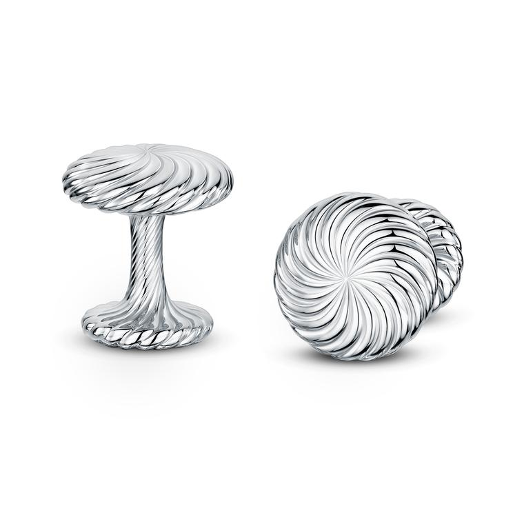 Cannelé Twist silver cufflinks
