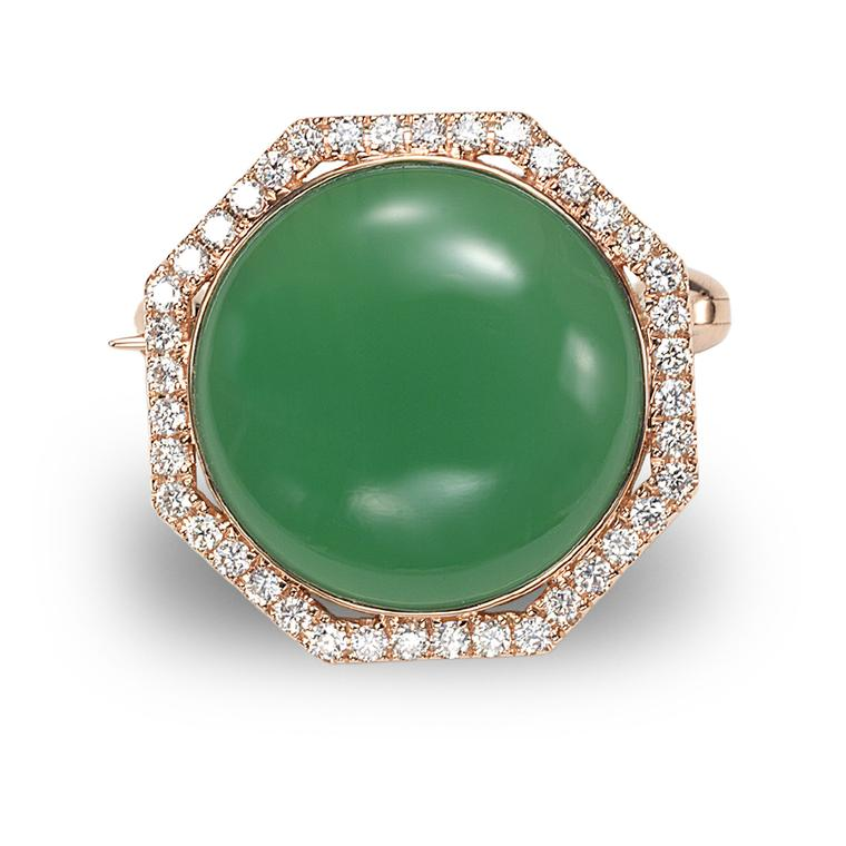 Octium Sun collection rose gold octagon diamond brooch with green chalcedony
