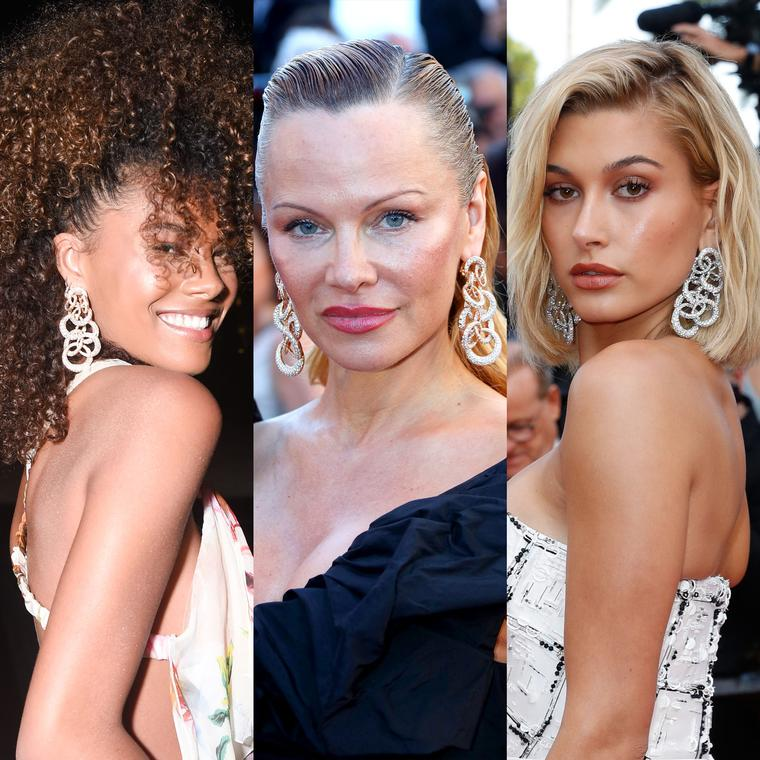 Tina Kunakey, Pamela Anderson and Hailey Baldwin wear the same de GRISOGONO Anelli earrings on the Cannes Film Festival red carpet