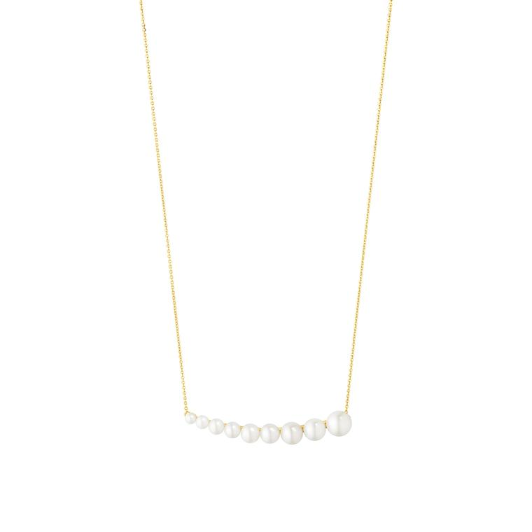 Georg Jensen pearl necklace from the Neva collection in 18ct yellow gold with white cultured Freshwater pearls