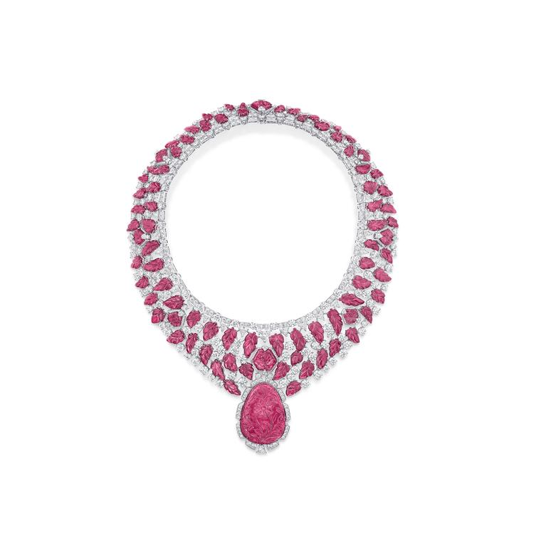 Graff diamonds carved ruby and rose tourmaline necklace