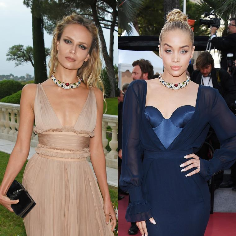 Jasmine Sanders and Natasha Poly wear same vintage Bulgari necklace on the Cannes red carpet