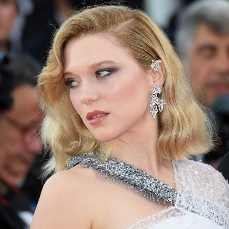 Lea Seydoux in Boucheron diamond earrings at Cannes Film Festival 2018