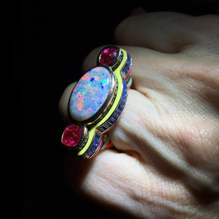 Solange Azagury-Partridge opal and spinel Poptail cocktail rings
