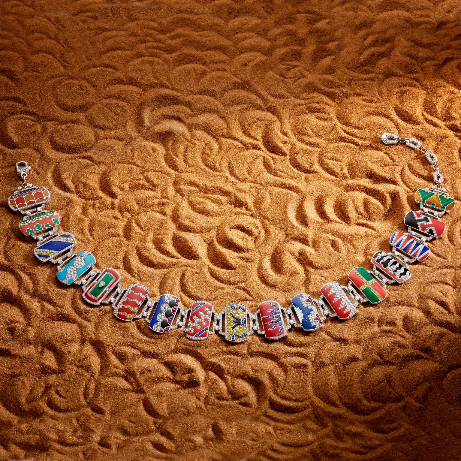 Bulgari Festa Palio stone marquetry high jewellery necklace