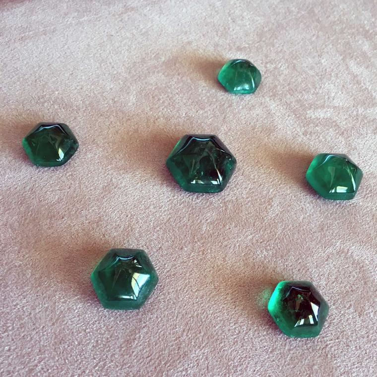 Muzo hexagonal sugarloaf emeralds