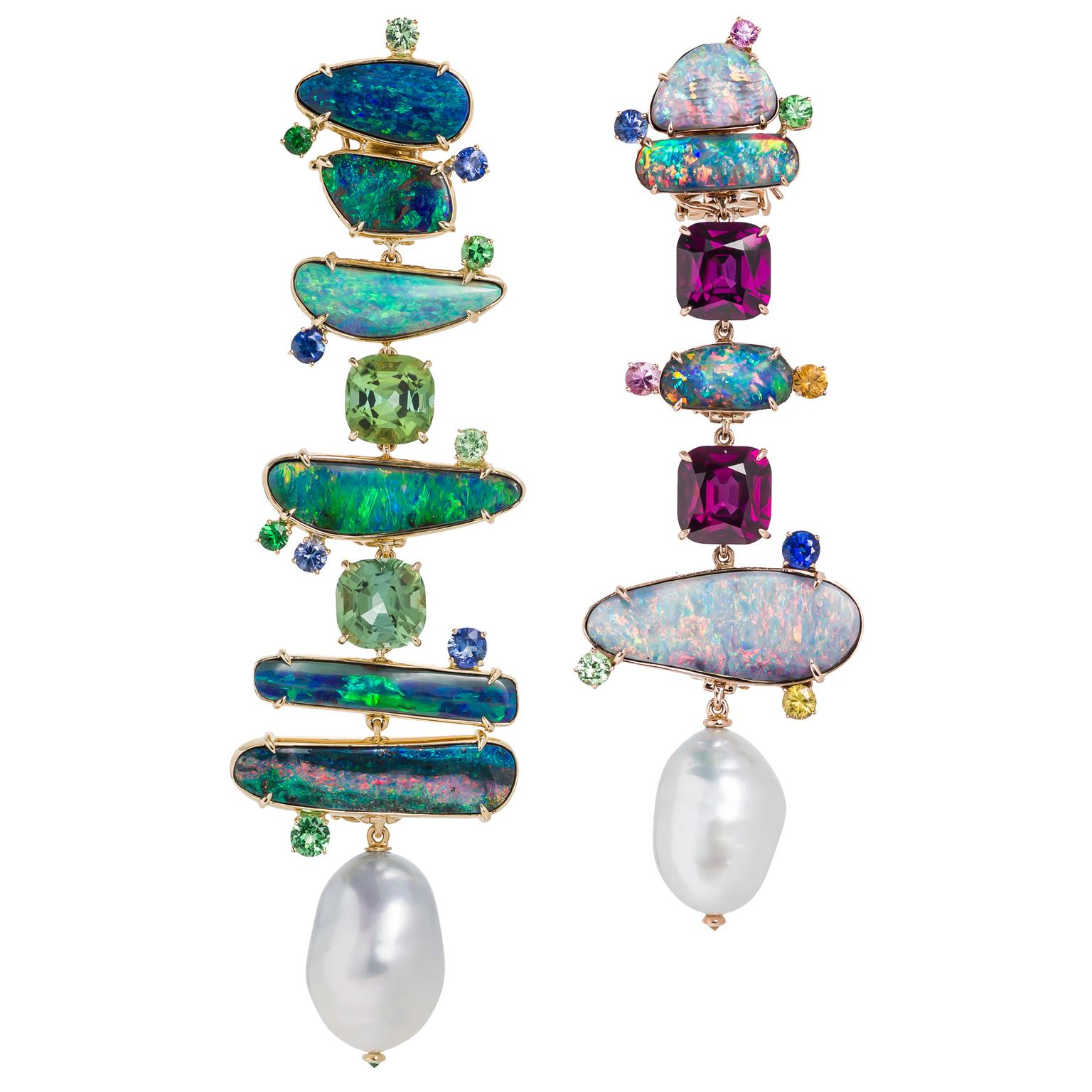 Margot McKinney mismatched opal and baroque pearl earrings
