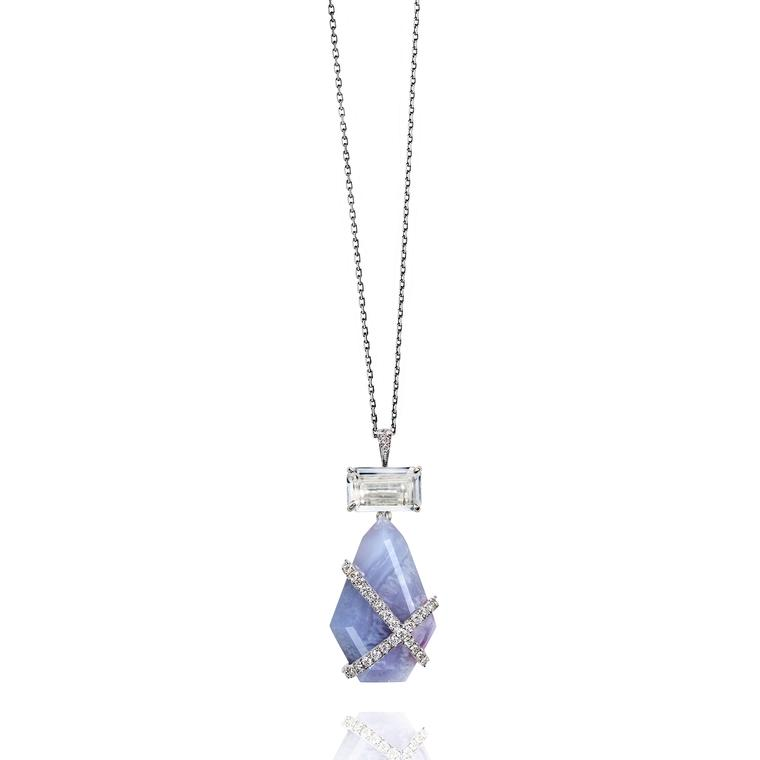 Rachael SARC white gold and chalcedony necklace
