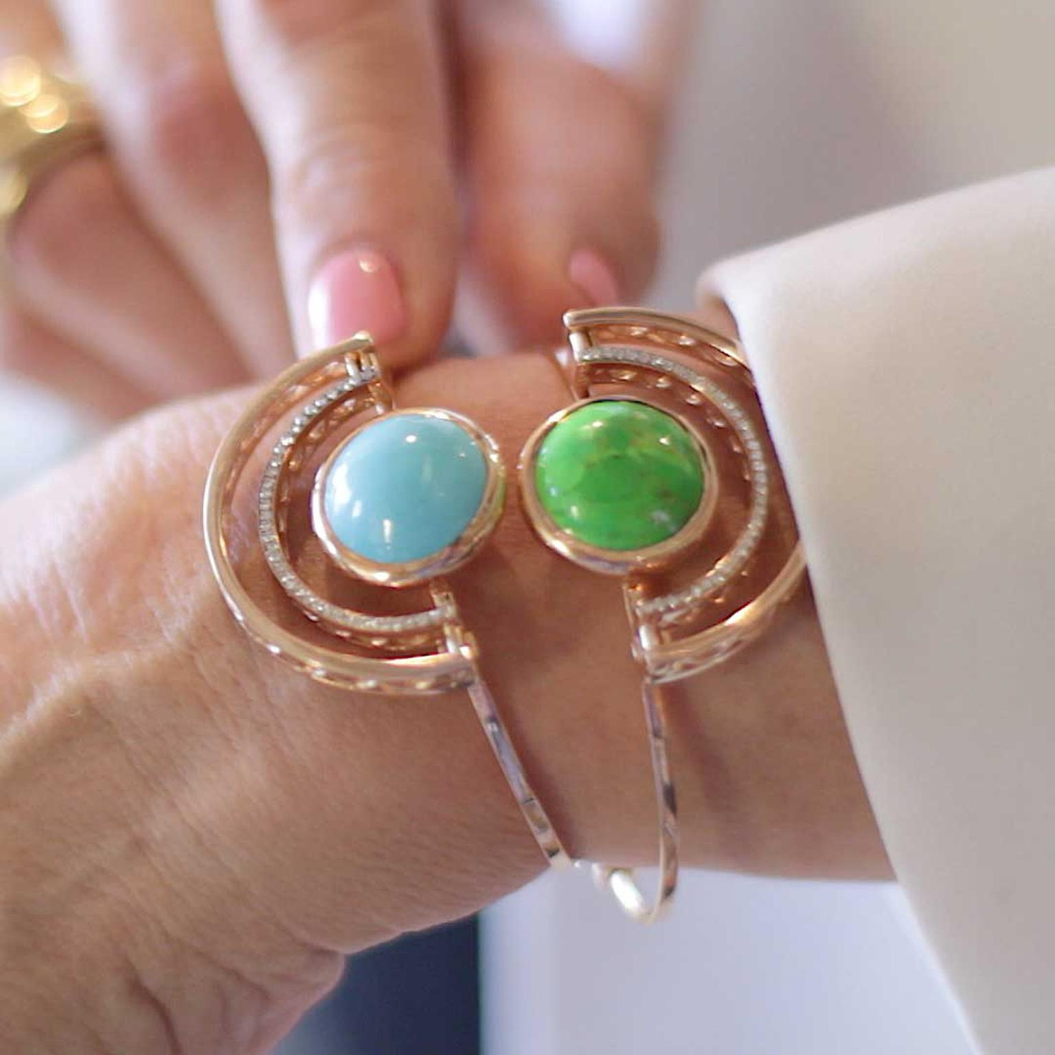 Selim Mouzannar Sunset cuffs in pink gold with blue and green turquoise and diamonds
