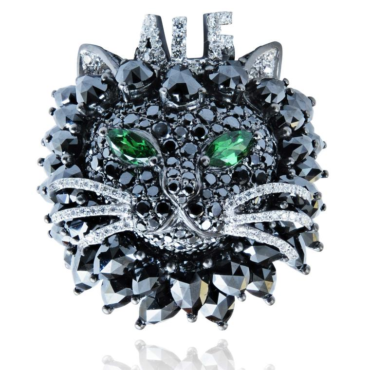 Alf black diamond cat ring special commission by Lydia Courteille.