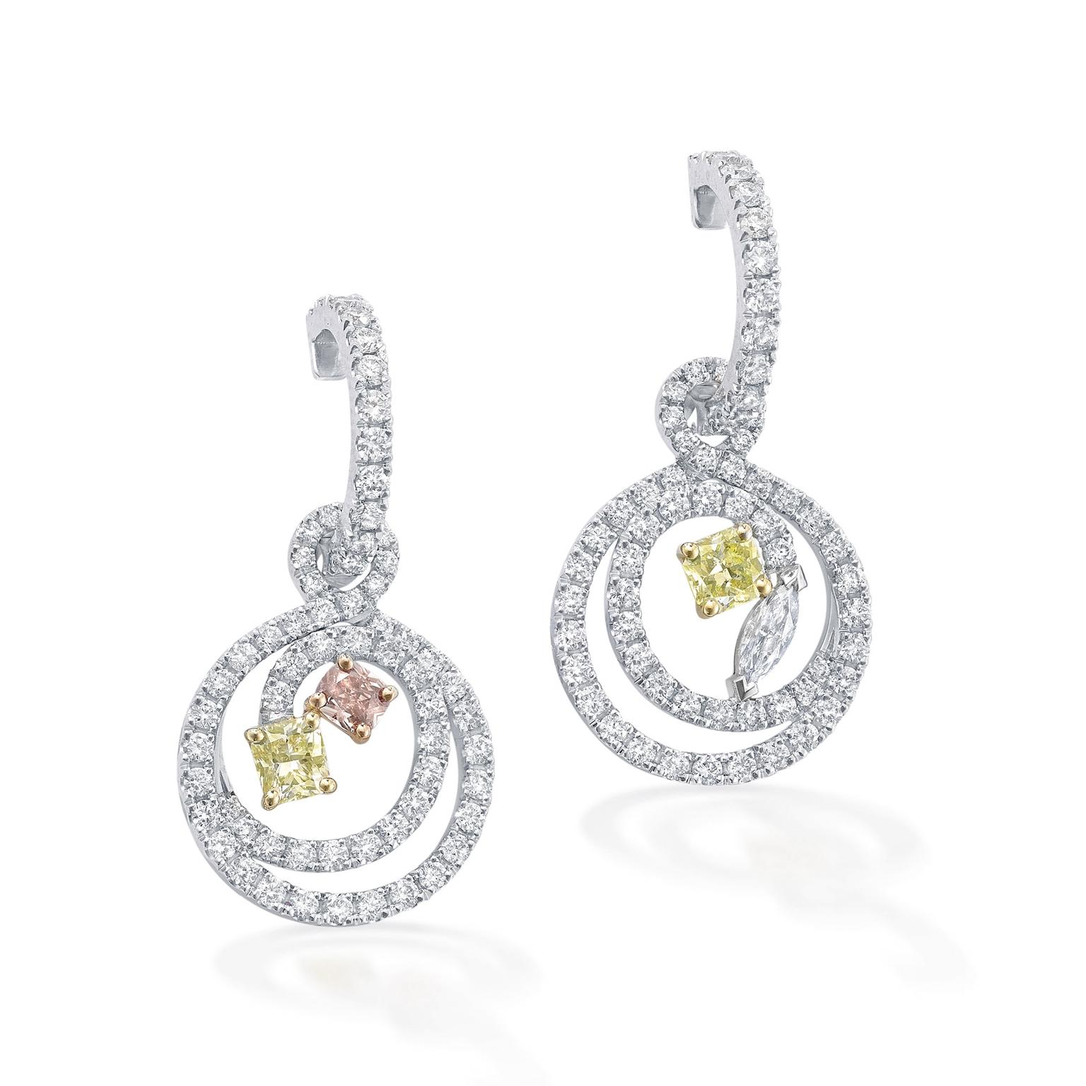 Boodles Finely Coloured Swirl diamond earrings