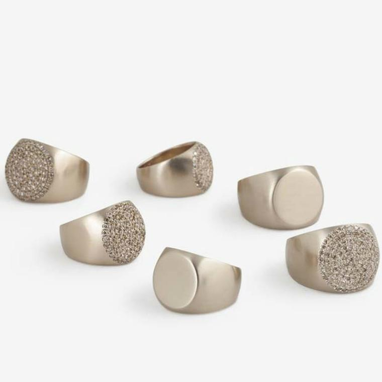Pinky rings are in with new minimalist coin rings by Dina Kamal