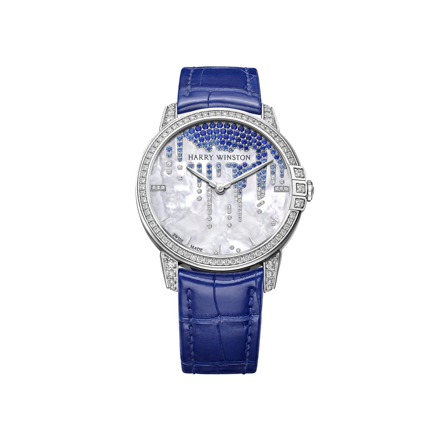 Harry Winston Midnight Diamond Stalactite white gold pearl watch