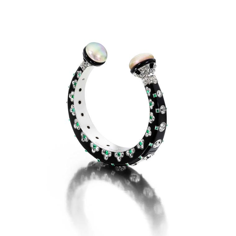 Siegelson Art Deco diamond, natural pearl, emerald and onyx bangle by Cartier