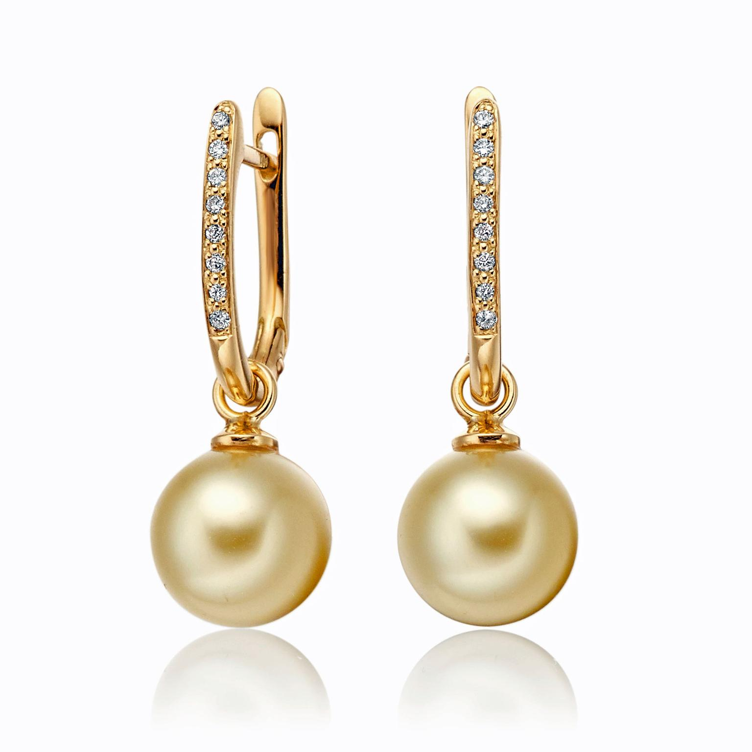 Winterson yellow gold, diamond and pearl earrings