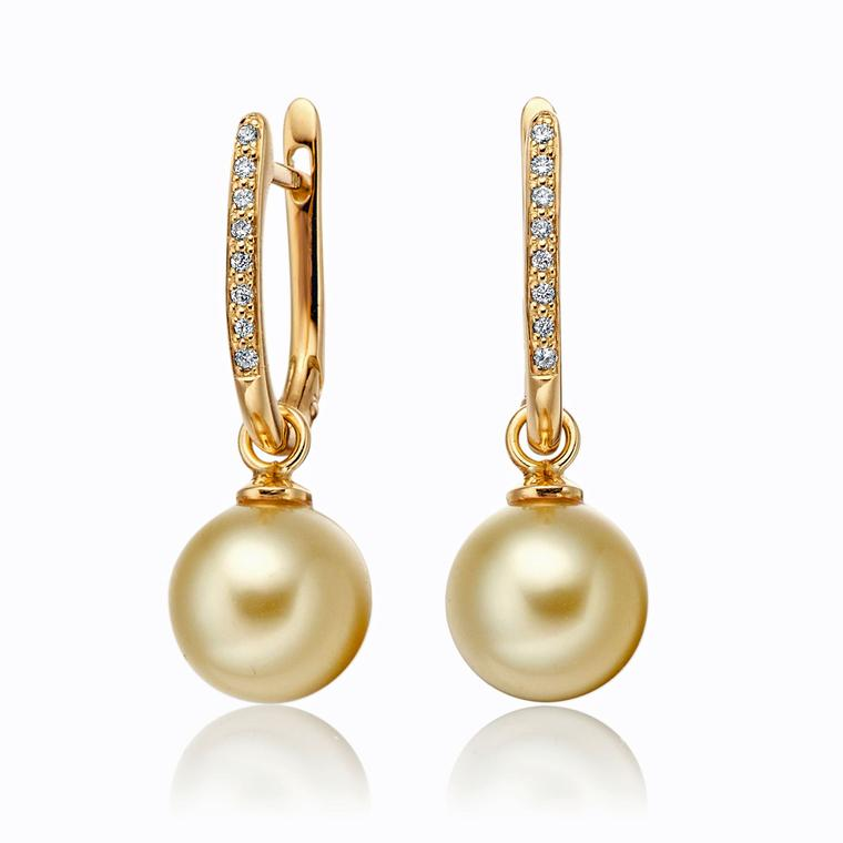 Winterson Yellow Gold Diamond And Pearl Earrings