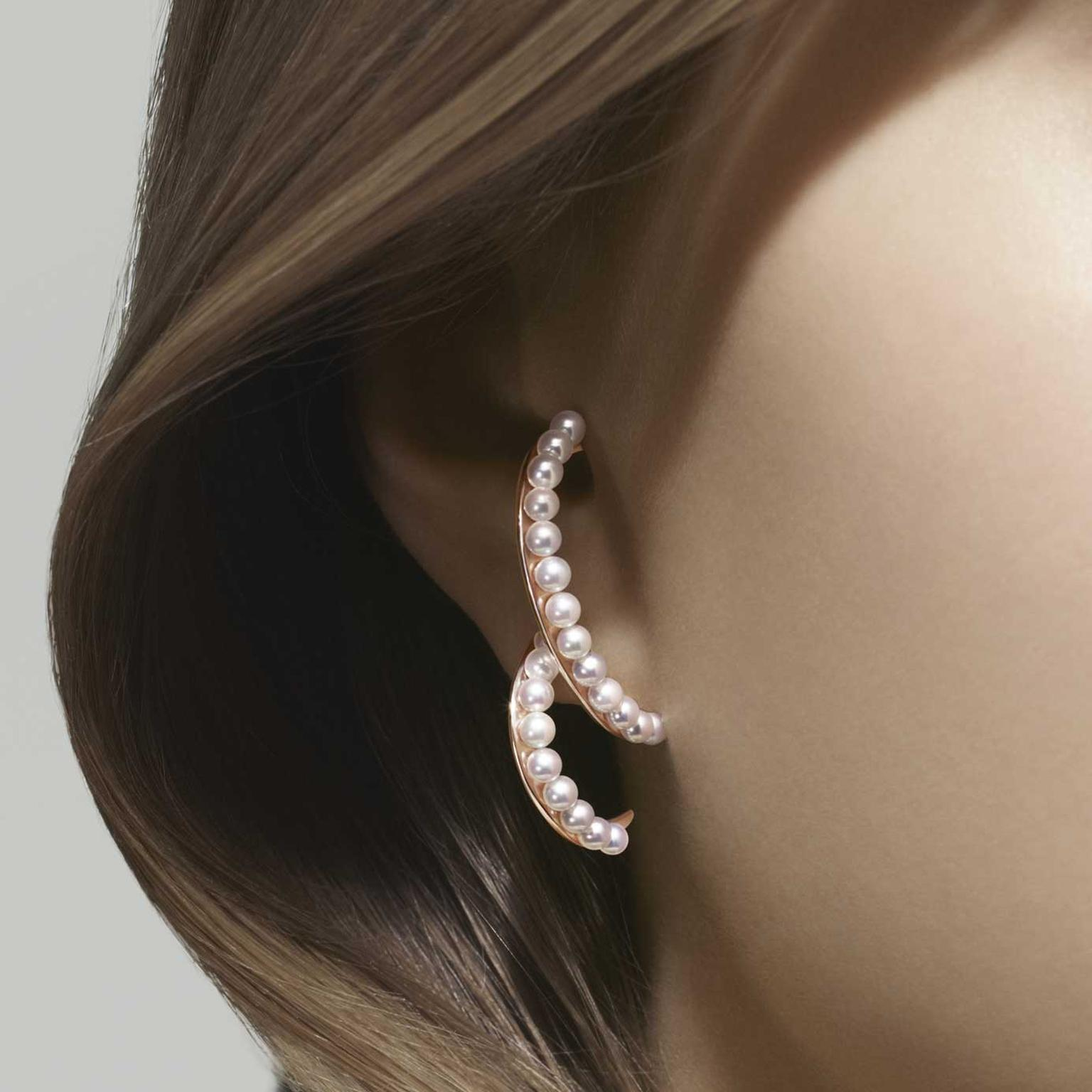 Tasaki Atelier Surge Akoya pearl and gold earrings on model