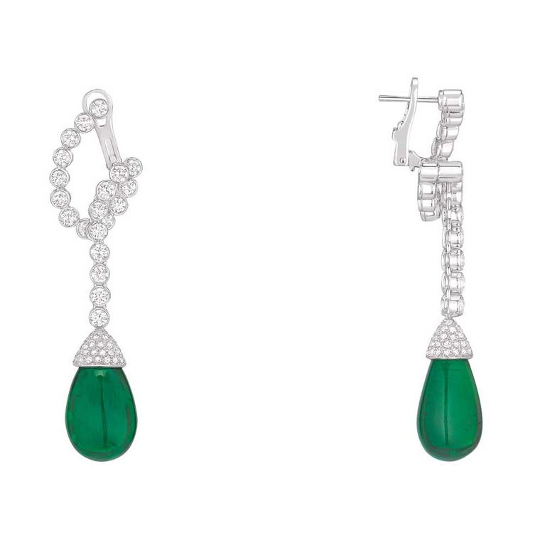 Chaumet emerald earrings as worn by Carey Mulligan at Cannes Film Festival 2018