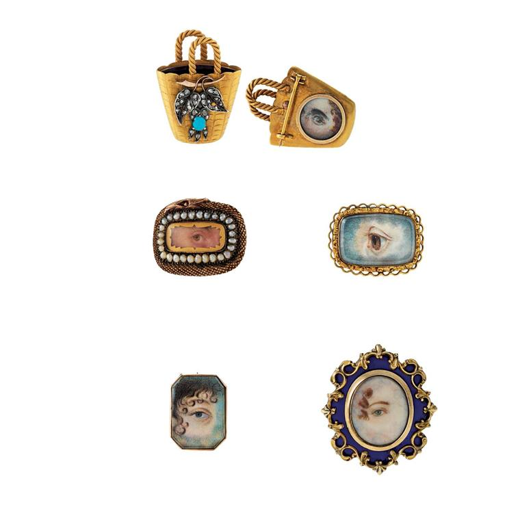 Macklowe Gallery lover's eye brooches