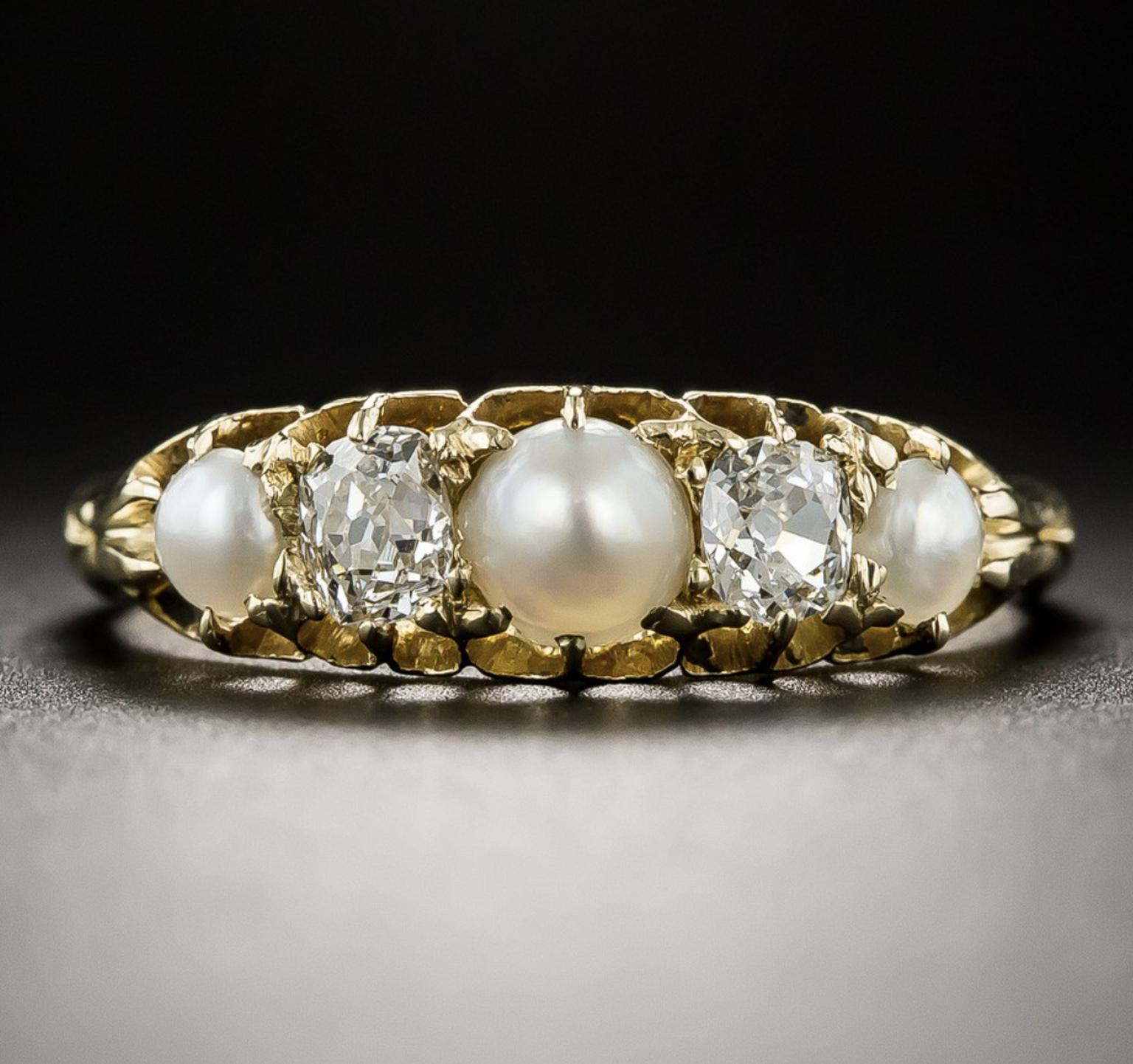 Natural pearl and diamond ring sold by Lang Antiques