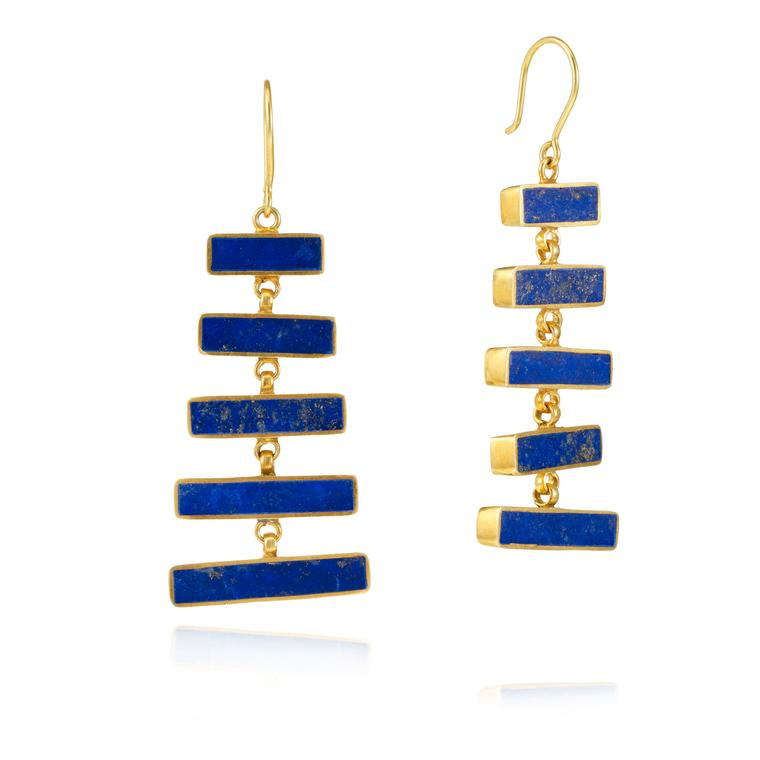 Pippa Small gold vermeil and lapis lazuli earrings