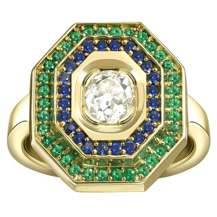 Bespoke Hattie Rickards diamond, sapphire and emerald engagement ring