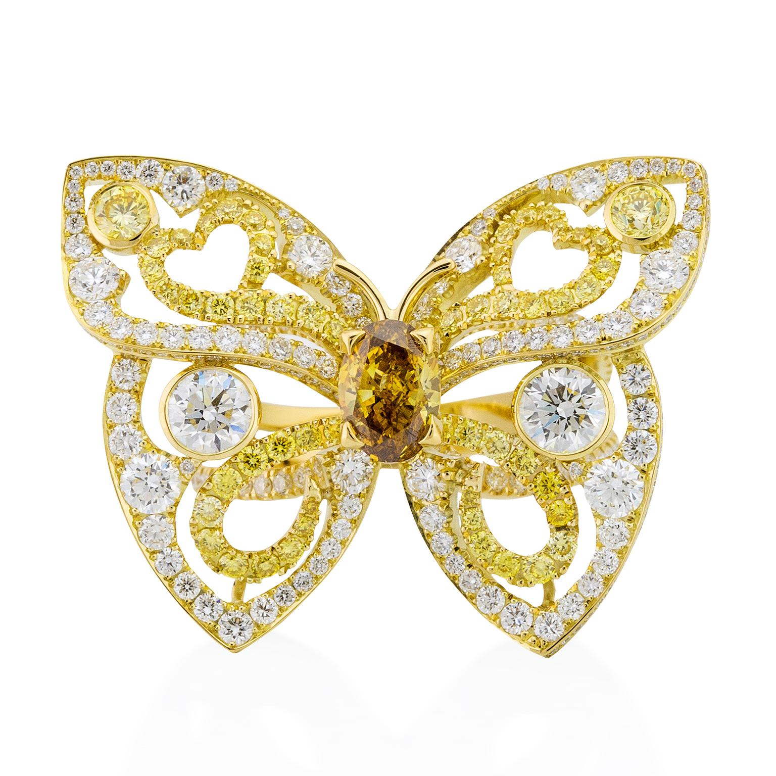 Boodles Papillon butterfly coloured diamond ring