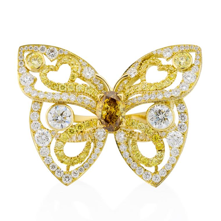 Papillon coloured diamond ring
