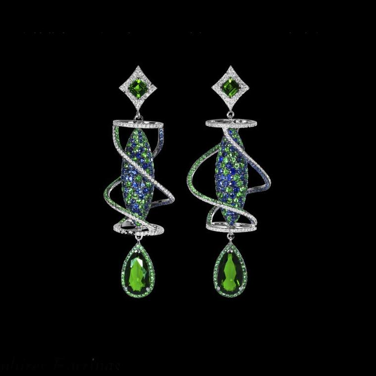 Dionea Orcini Linee Misteriose blue sapphire earrings
