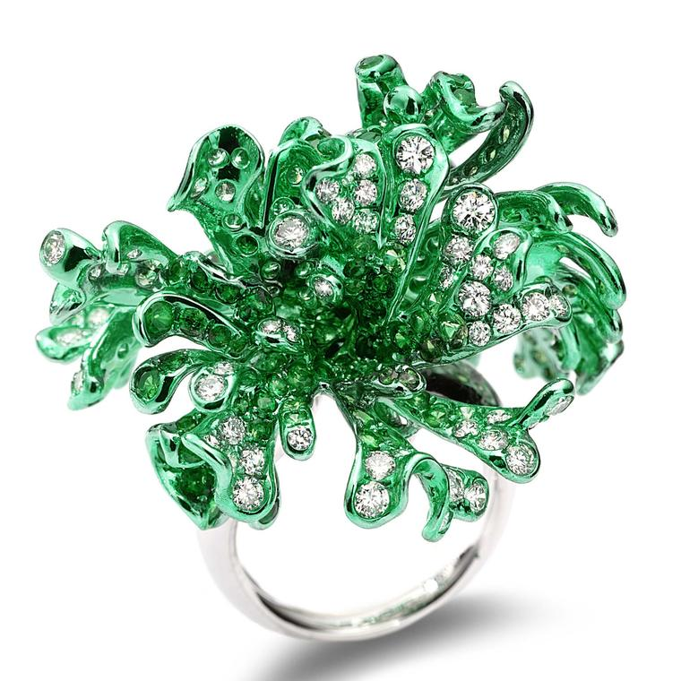 Neha Dani Myra ring diamonds and tsavorites