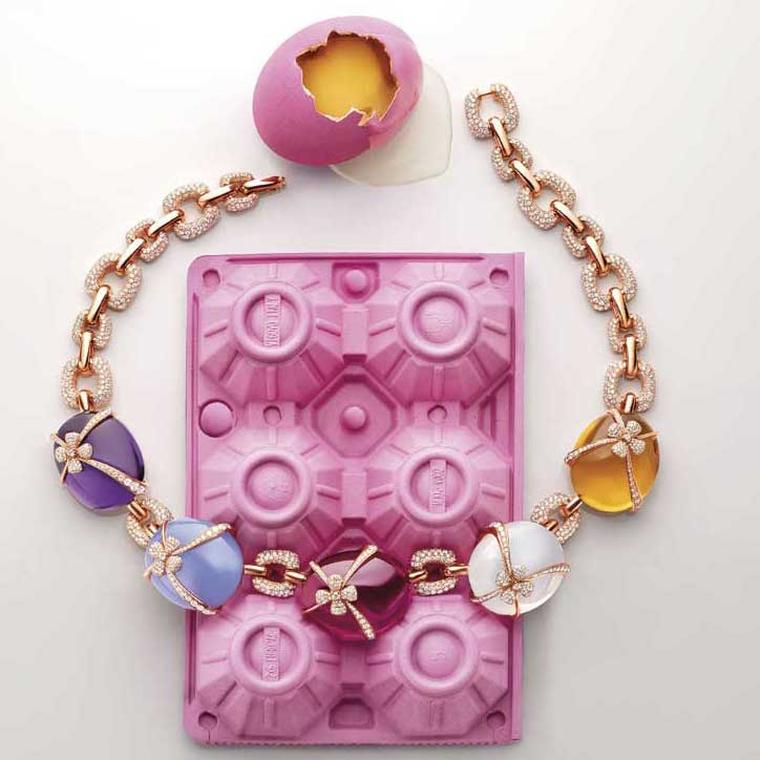 Eggs necklace from Bulgari Wild Pop high jewellery collection in pink gold