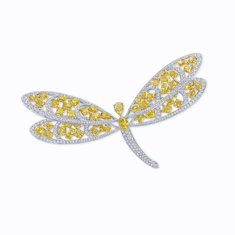 Graff yellow and white mixed diamond dragonfly brooch